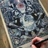 Signing Black Butterfly in Blue by Handiedan